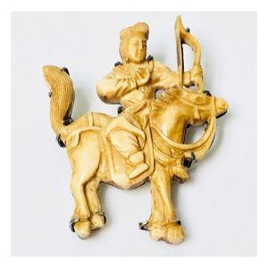 Vintage Carved Warrior On Horse Brooch